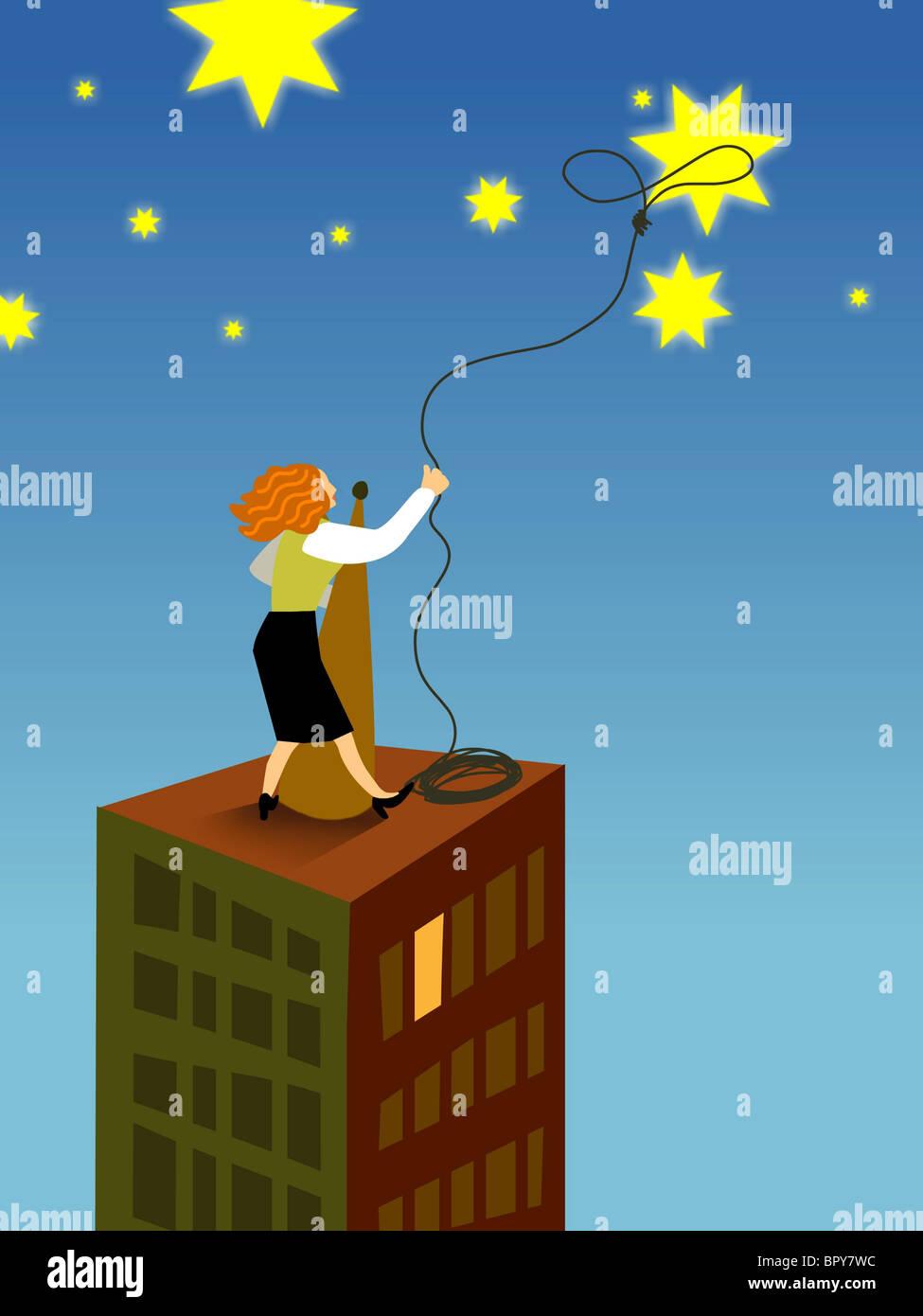 Una imprenditrice lassoing una stella dal cielo Immagini Stock