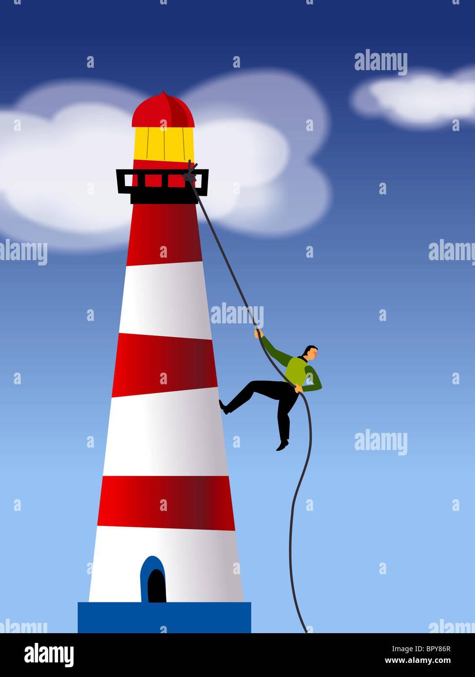 Un imprenditore di arrampicata corda una casa di luce Immagini Stock