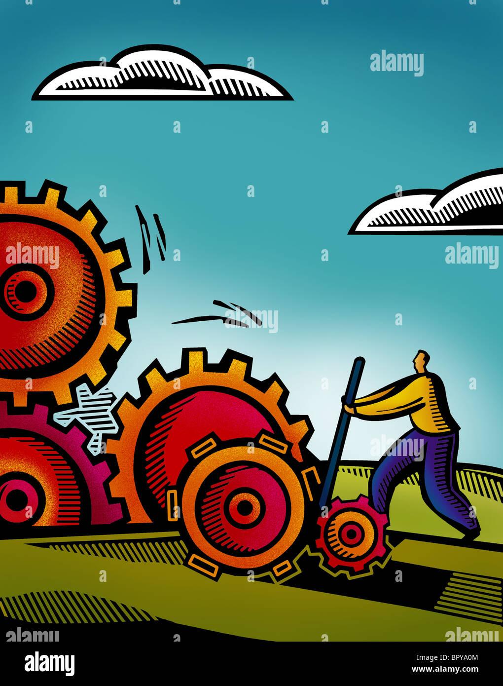 Un uomo di affari sul lavoro tra gli ingranaggi collegati Immagini Stock