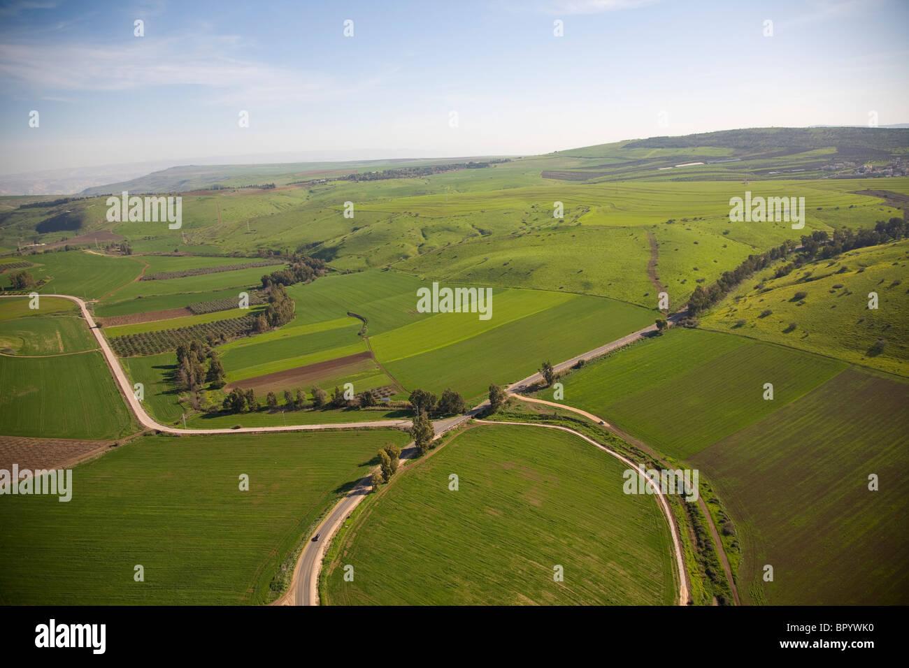 Vista astratta dell'agricoltura campi della Galilea Immagini Stock
