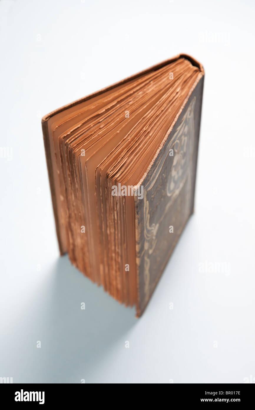 Libro aperto ad un angolo che mostra le pagine di antiquariato vintage Immagini Stock