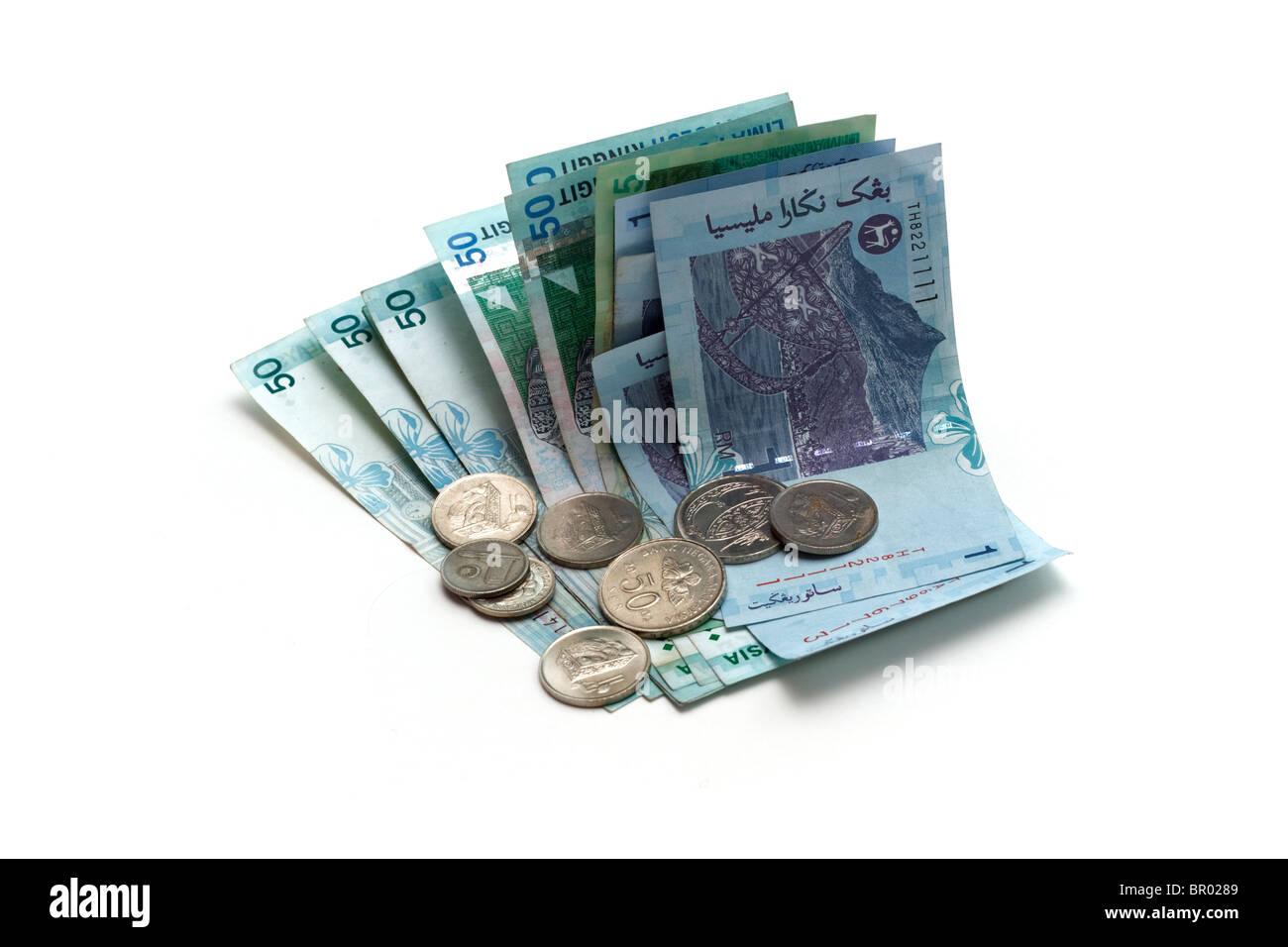 Ringgit malese le banconote e le monete in euro Foto Stock