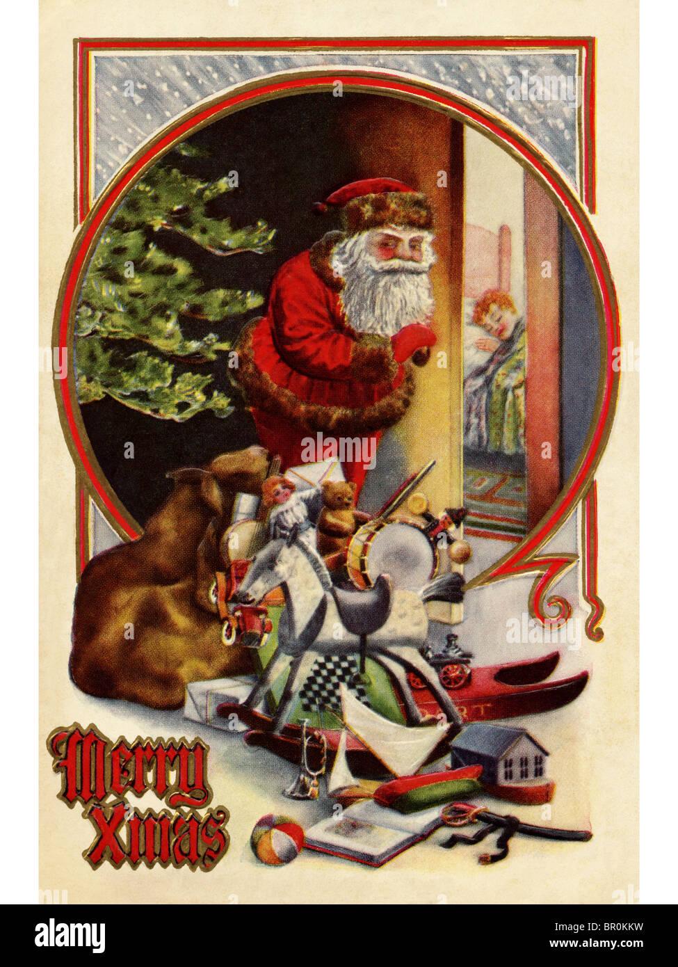 Immagini Babbo Natale Vintage.Vintage Scheda Di Natale Di Babbo Natale Con I Doni