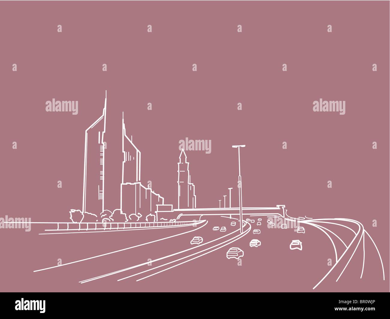 Una illustrazione di una superstrada Immagini Stock