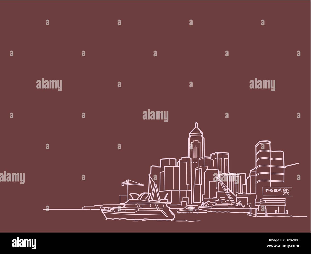 Una illustrazione degli edifici al waterfront Immagini Stock