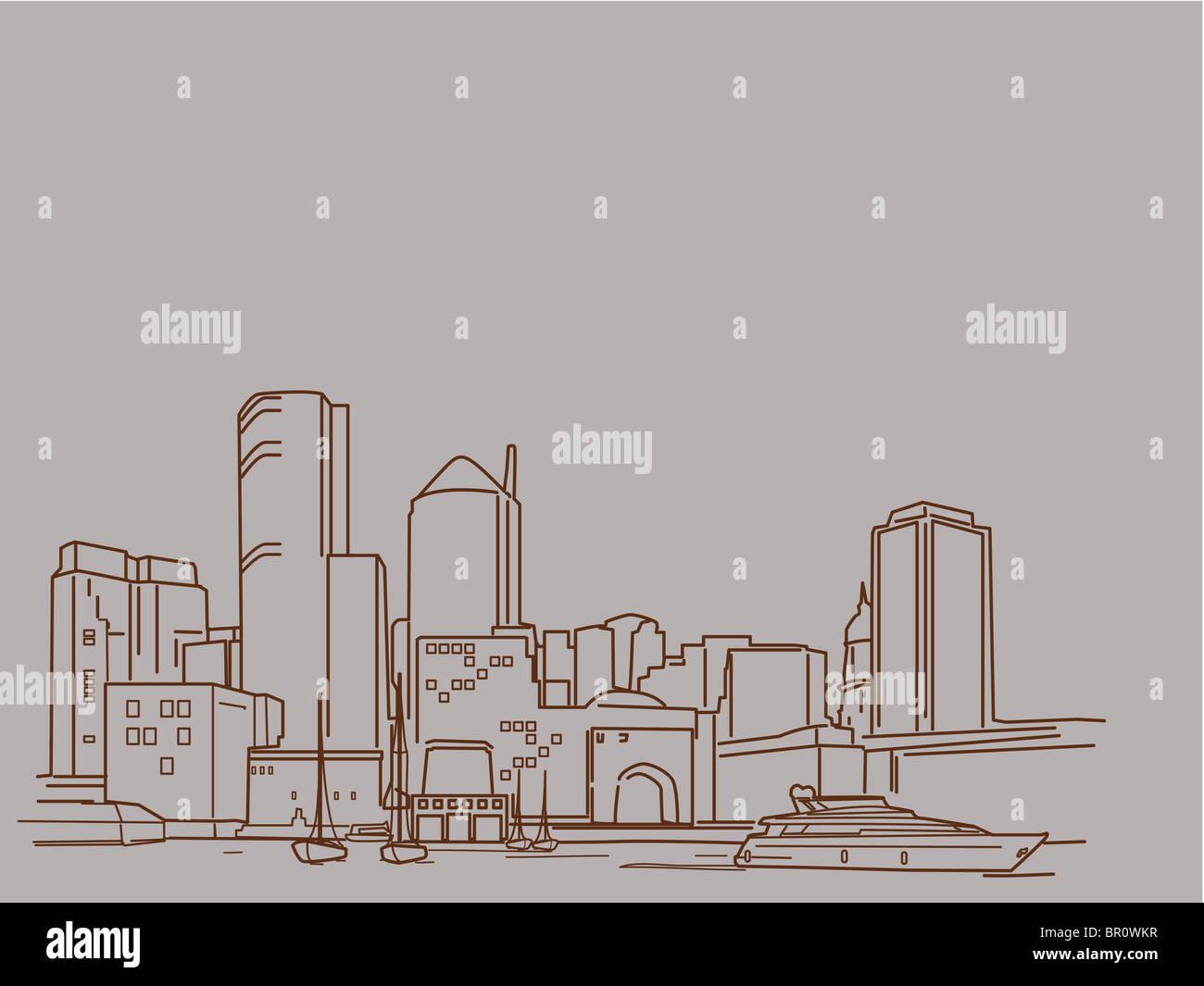 Una illustrazione del porto della città Immagini Stock