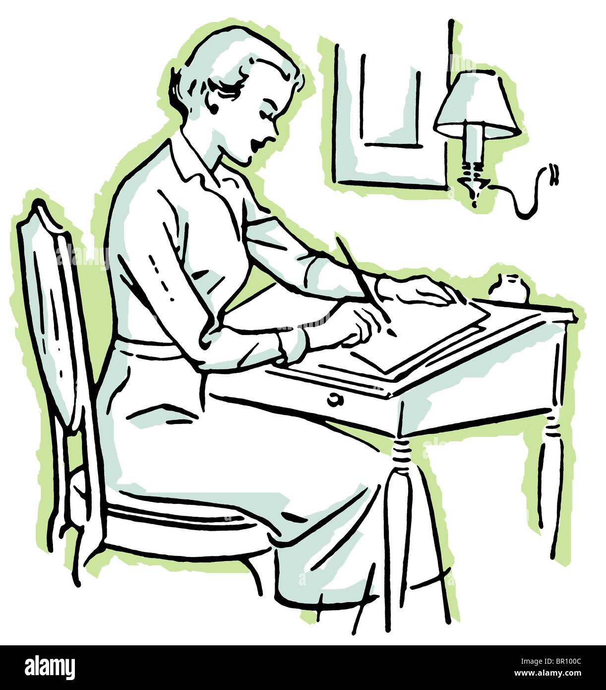 Disegnare Una Scrivania.Un Disegno Di Una Donna Ad Una Scrivania Foto Immagine