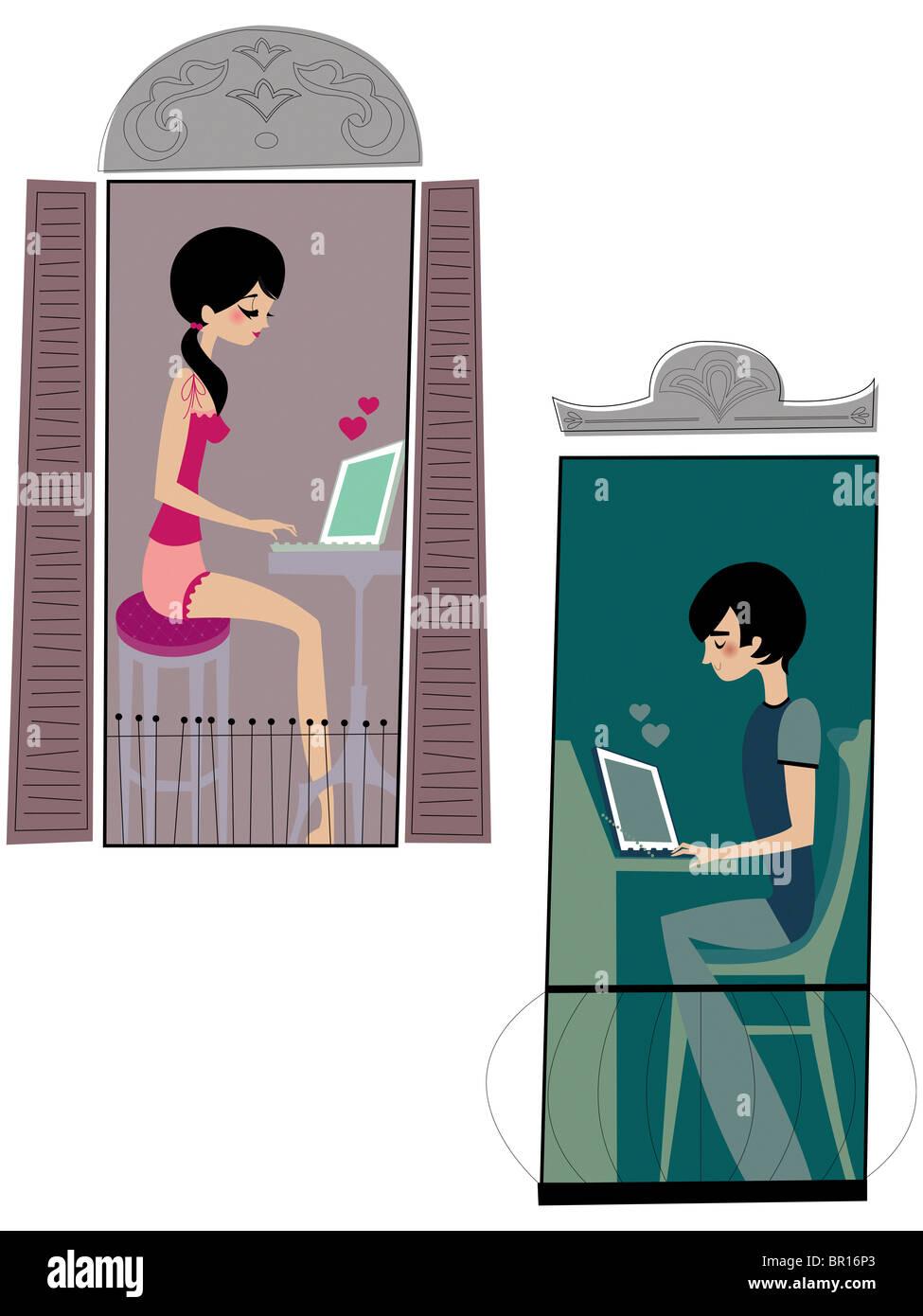 Un giovane lo scambio di lettere di amore per e-mail Immagini Stock