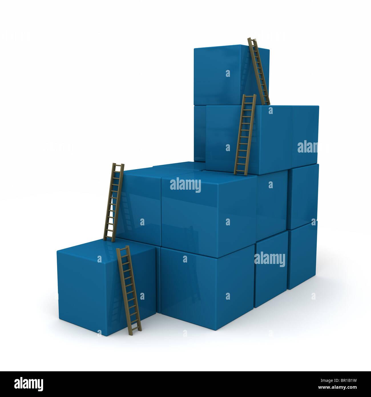 Blocchi di colore blu impilati in modo casuale con scale per la parte superiore. Isolato su bianco Immagini Stock