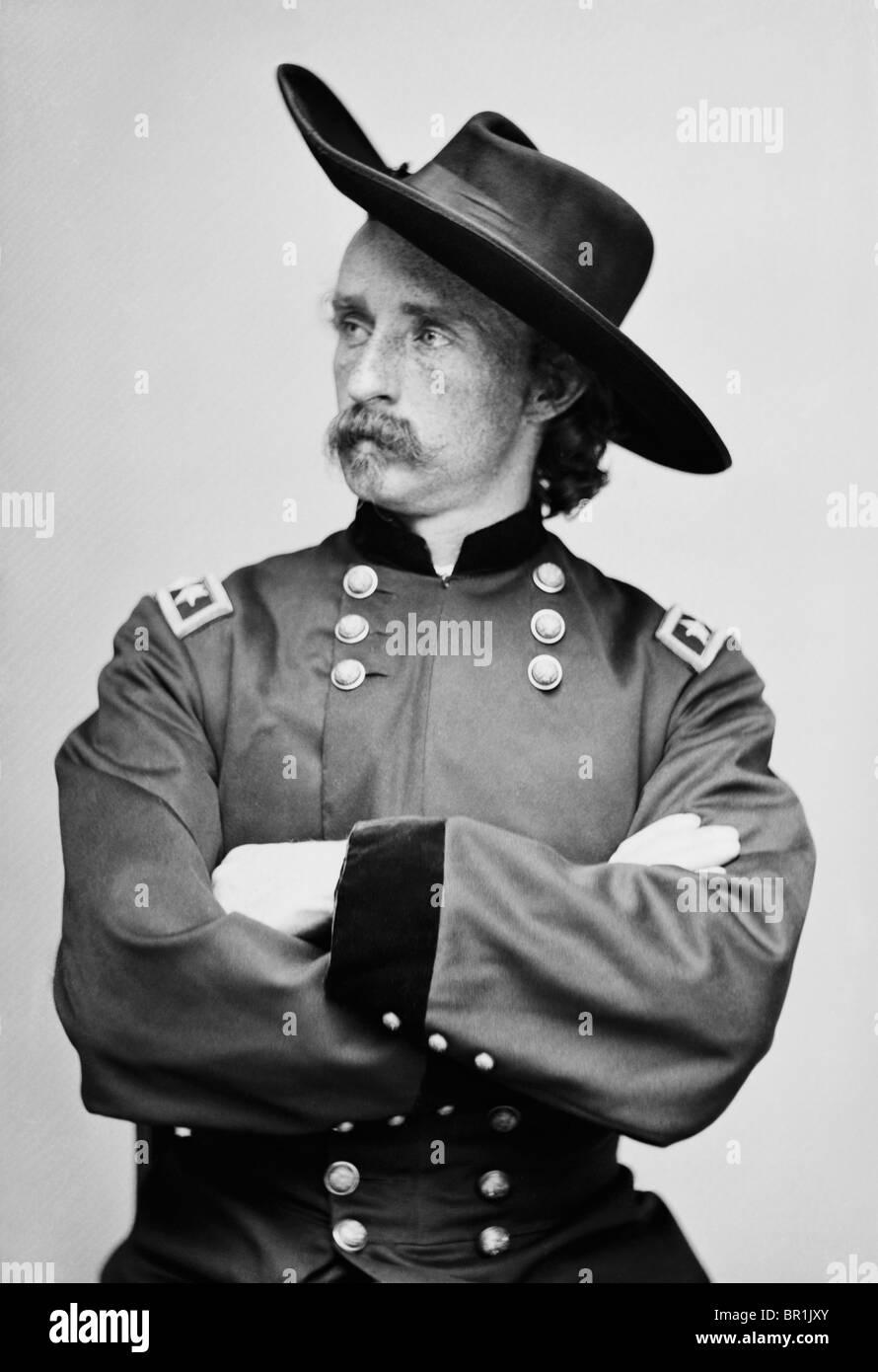 Ritratto c1865 di General Maggiore George Armstrong Custer (1839 - 1876) - famoso per essere ucciso nella battaglia Immagini Stock