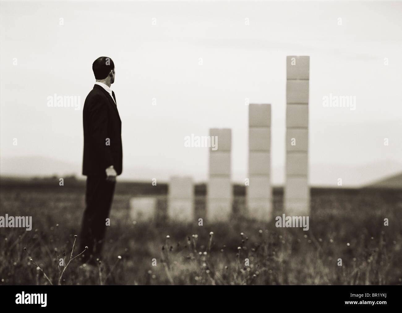Uomo fuori sul campo con accatastamento casse che formano un grafico. Immagini Stock