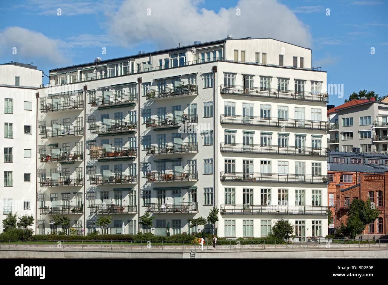 Moderno blocco di appartamenti a stoccolma svezia foto immagine