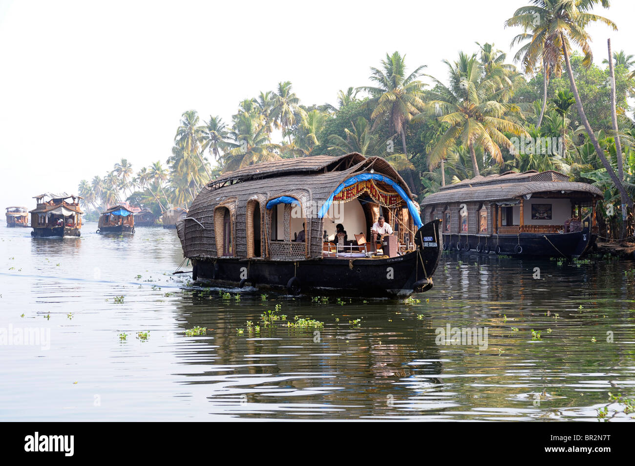 Case galleggianti sulle lagune, del Kerala, India Immagini Stock
