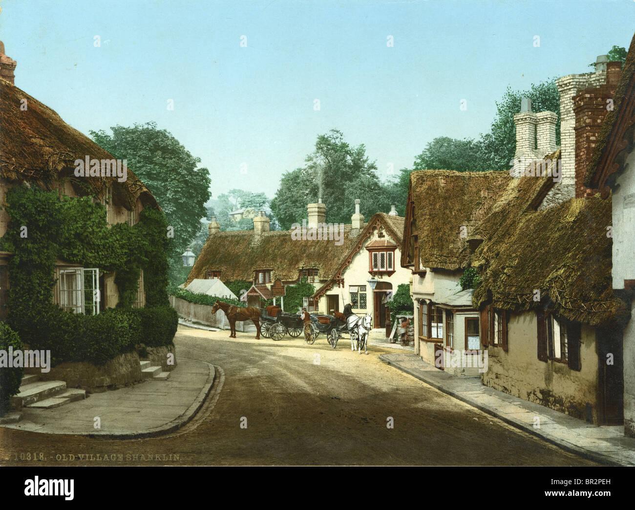 """Circa 1910 colorate a mano la fotografia del vecchio villaggio, Shanklin."""". Immagini Stock"""
