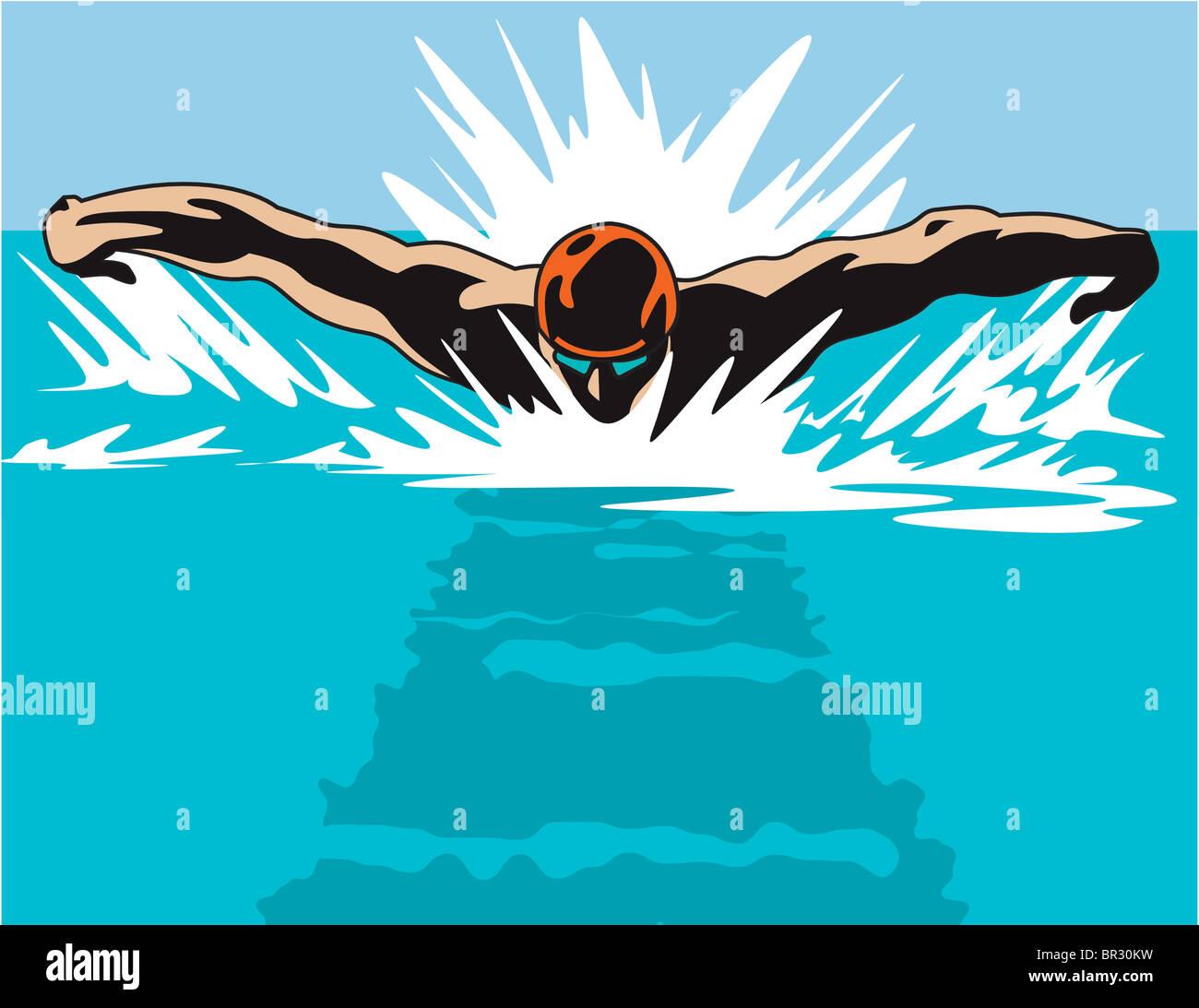 Una illustrazione di un nuotatore da una testa su prospettiva Foto Stock
