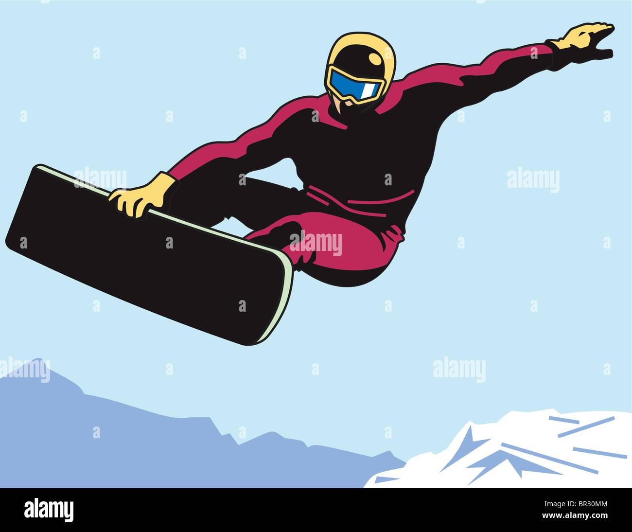 Un uomo lo snowboard Immagini Stock