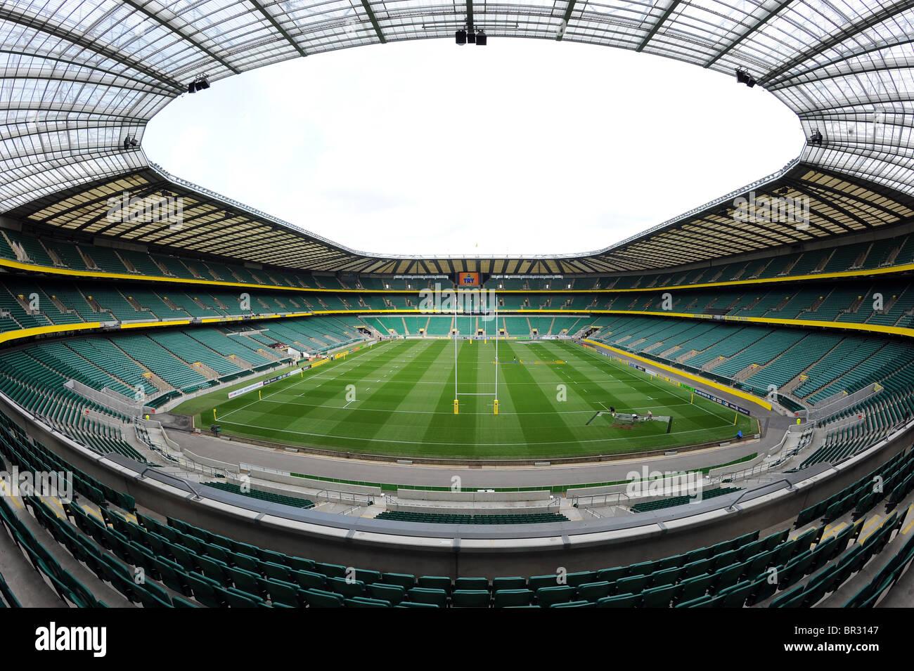 Vista dentro Stadio di Twickenham e Stadio di Twickenham, Londra. Home dell'inglese di Rugby Union o RFU Immagini Stock
