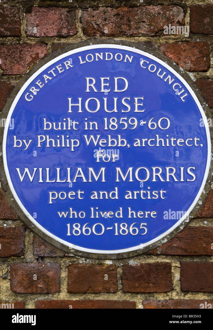 La placca al di fuori di William Morris' Red House Bexleyheath Immagini Stock