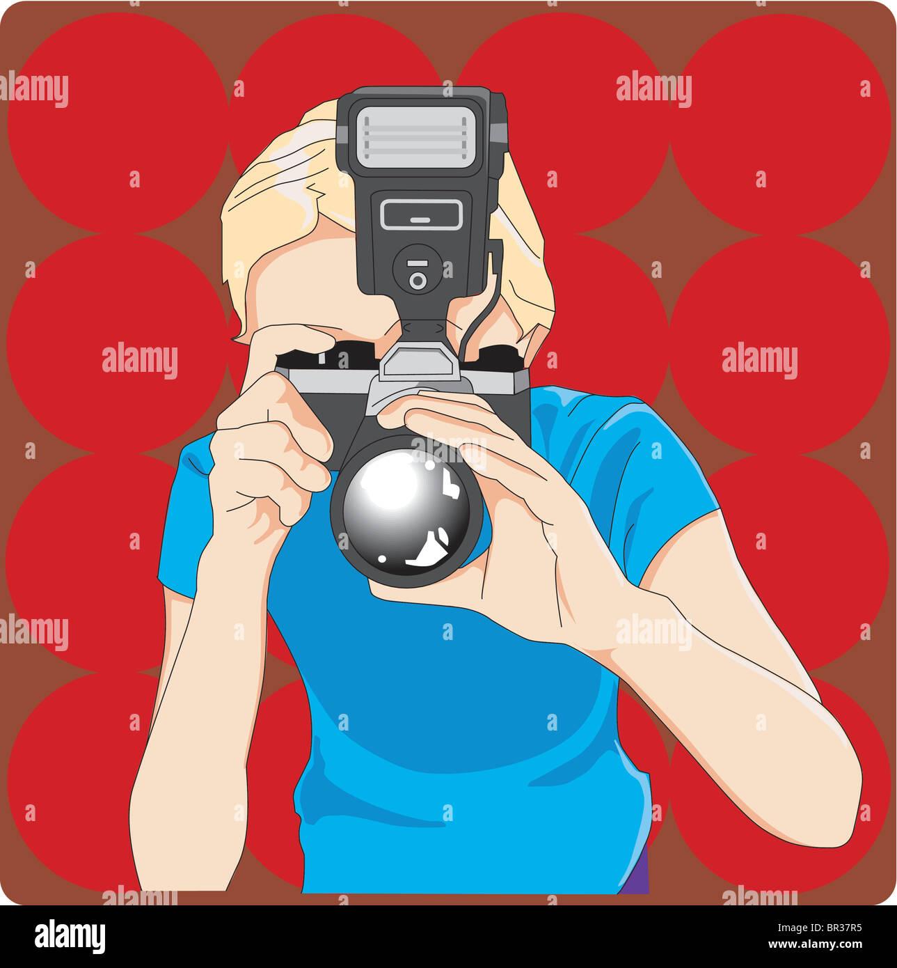 Ragazza con la fotocamera Immagini Stock