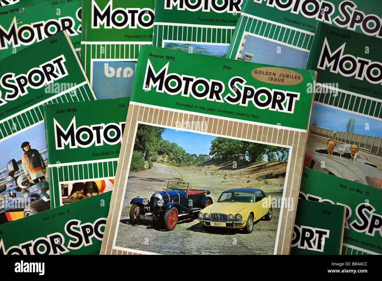 Motor Sport riviste dal 1975 Immagini Stock
