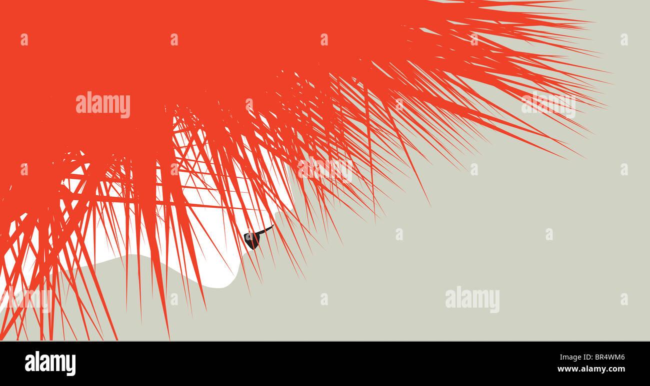 Una illustrazione di una donna con rosso selvatico capelli spiked con il suo volto solo leggermente visibile dietro Immagini Stock