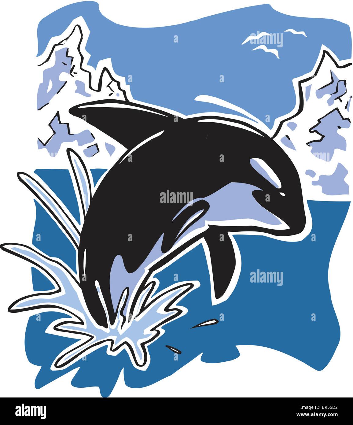 Un Disegno Animato Di Una Balena Foto Immagine Stock 31461502 Alamy
