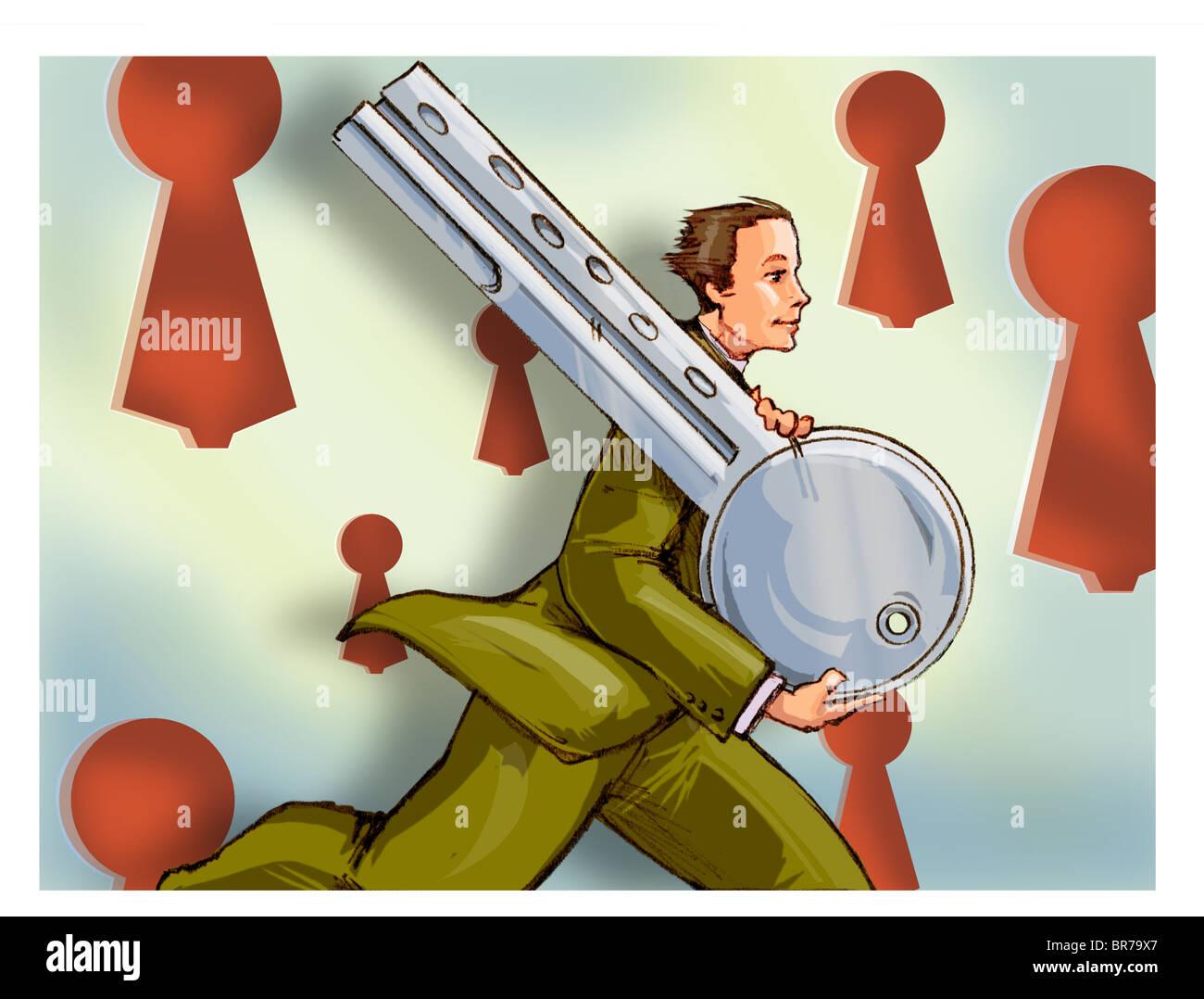 Un imprenditore in esecuzione con una chiave enorme Foto Stock