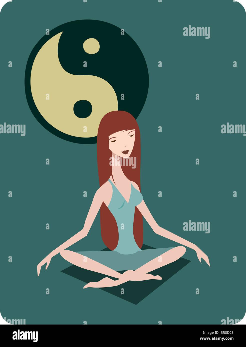 Una donna meditando nella posizione del loto di fronte a ying yang simbolo Immagini Stock