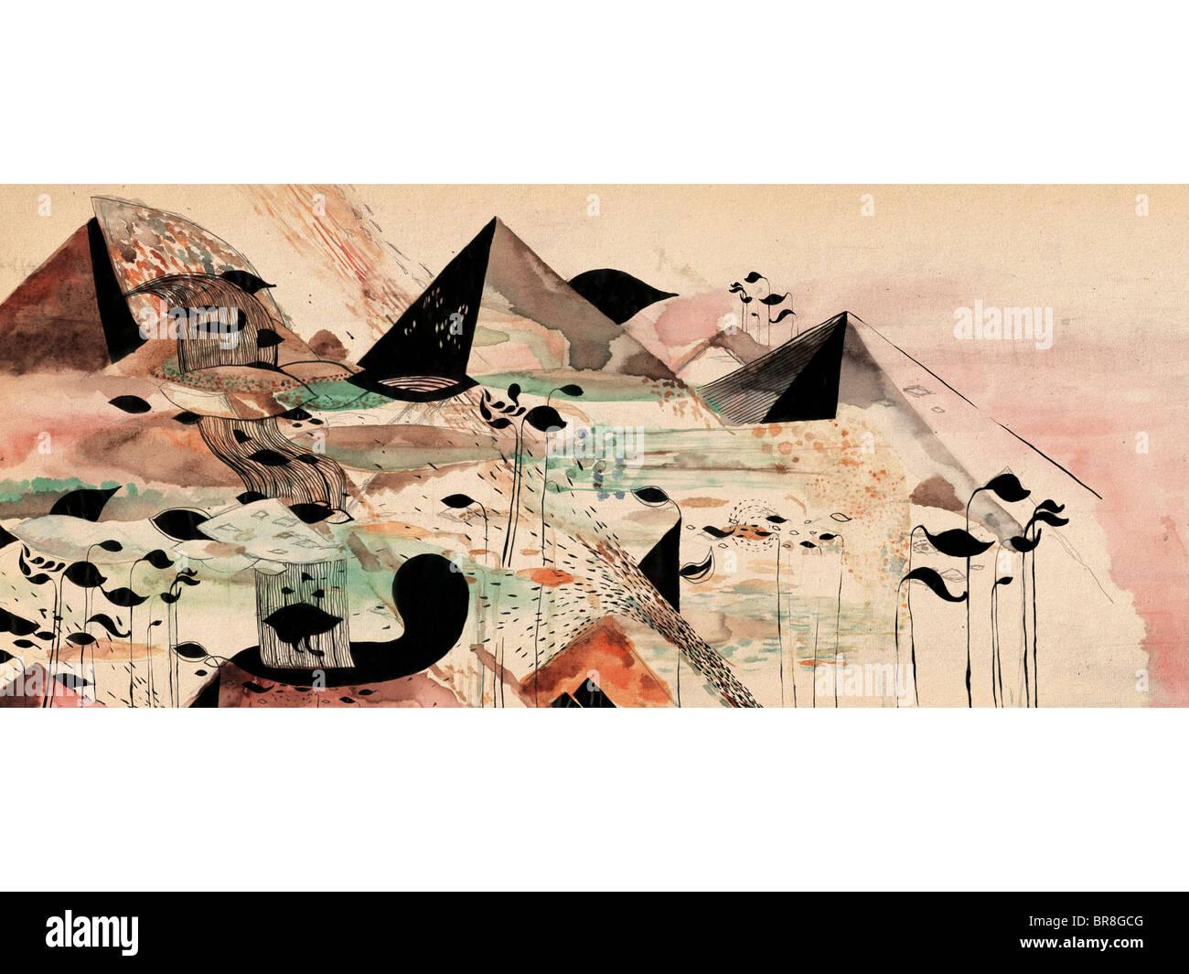 Un acquerello whimsical paesaggio di fantasia Immagini Stock