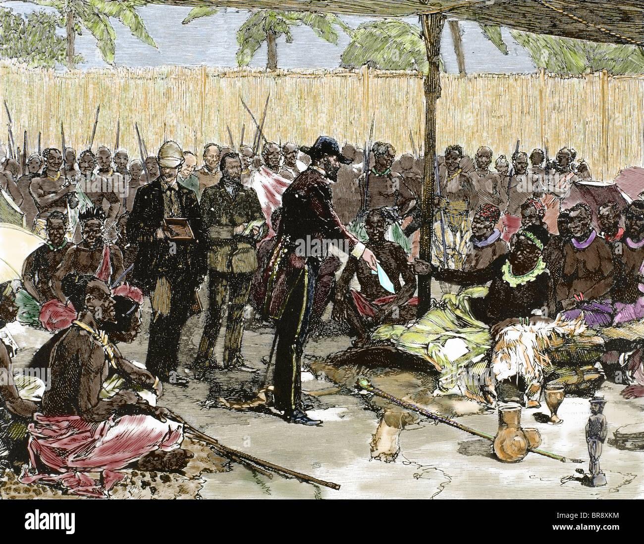 Brazzà offrendo al re Makoko il protettorato trattato ratificato dal governo francese. Immagini Stock