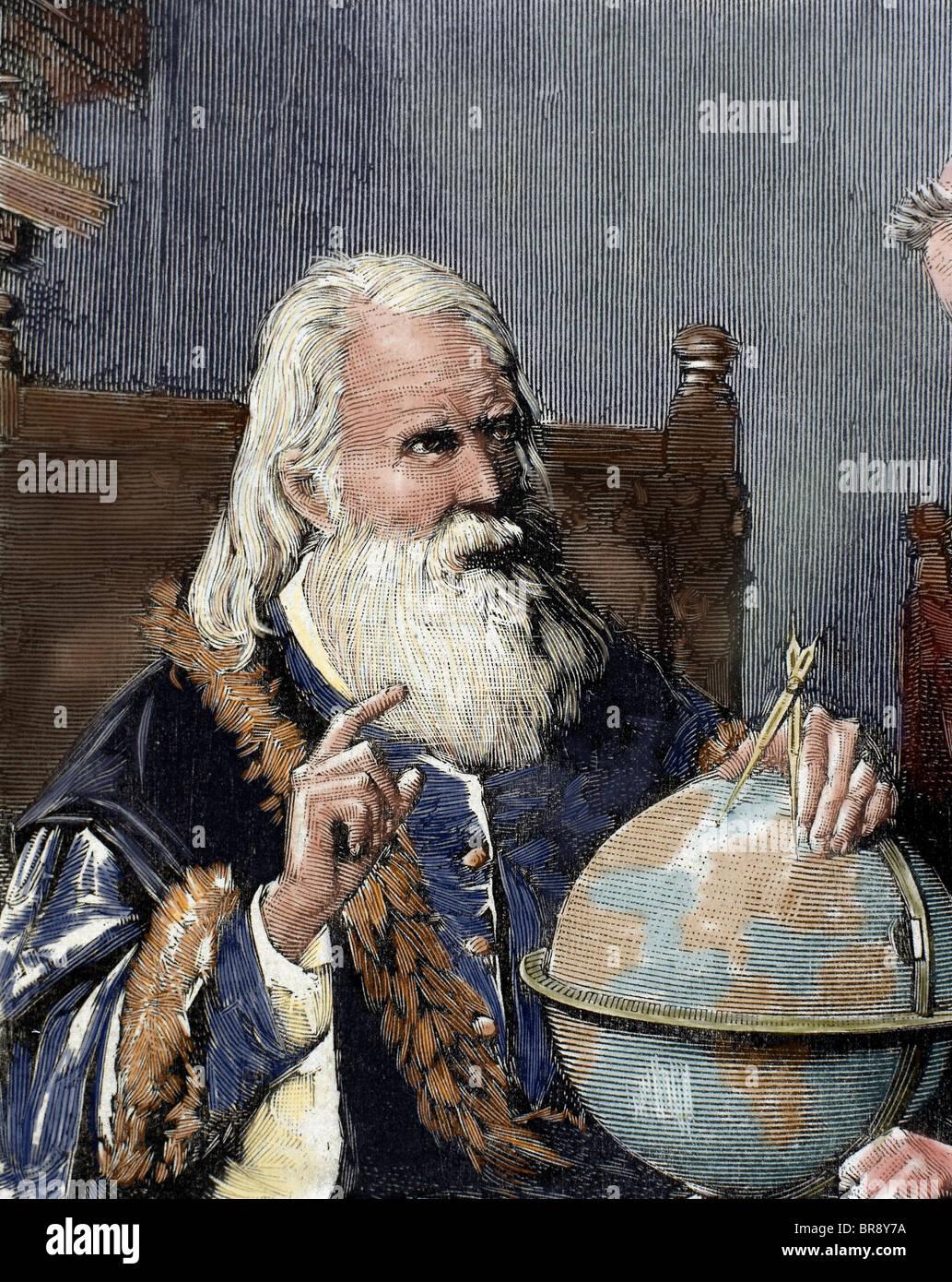 Galileo Galilei (1564-1642). Fisico italiano, matematico e astronomo. Galileo dimostrando la sua teorie astronomiche. Immagini Stock