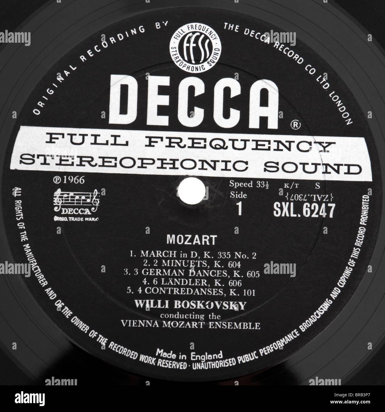 Originale Rare 1966 Decca SXL6247 etichetta discografica Foto Stock