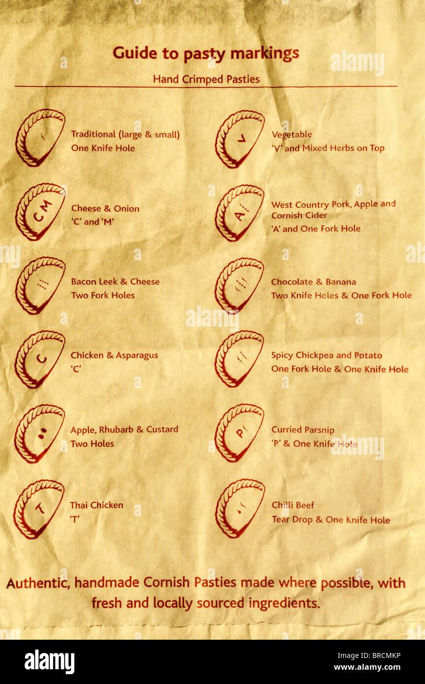 Guida per il Cornish pasty marcature (fori e lettere sono premuti nella pasticceria di ogni pasty a indicare i diversi Immagini Stock