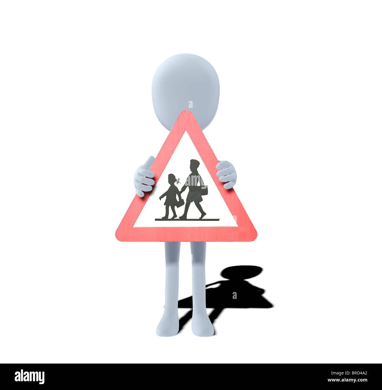 Concetto figura con il cartello di avviso i bambini Immagini Stock