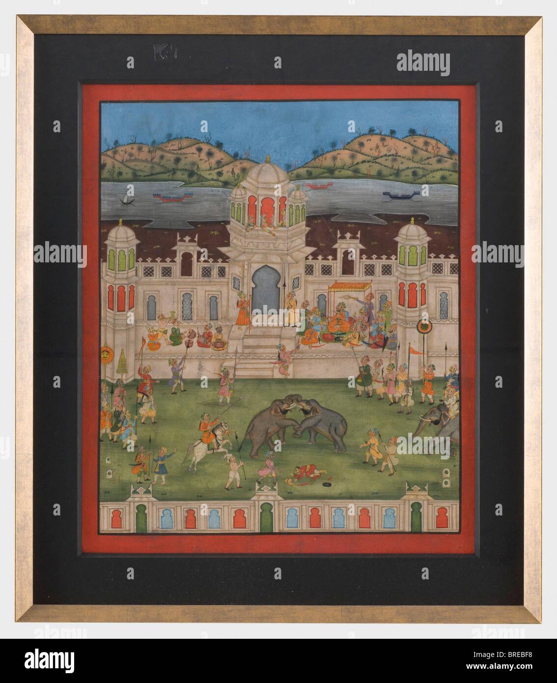 Una grande miniatura indiano, Jaisalmer, ca. 1850. Gouache su carta. In primo piano la lotta contro gli elefanti Immagini Stock