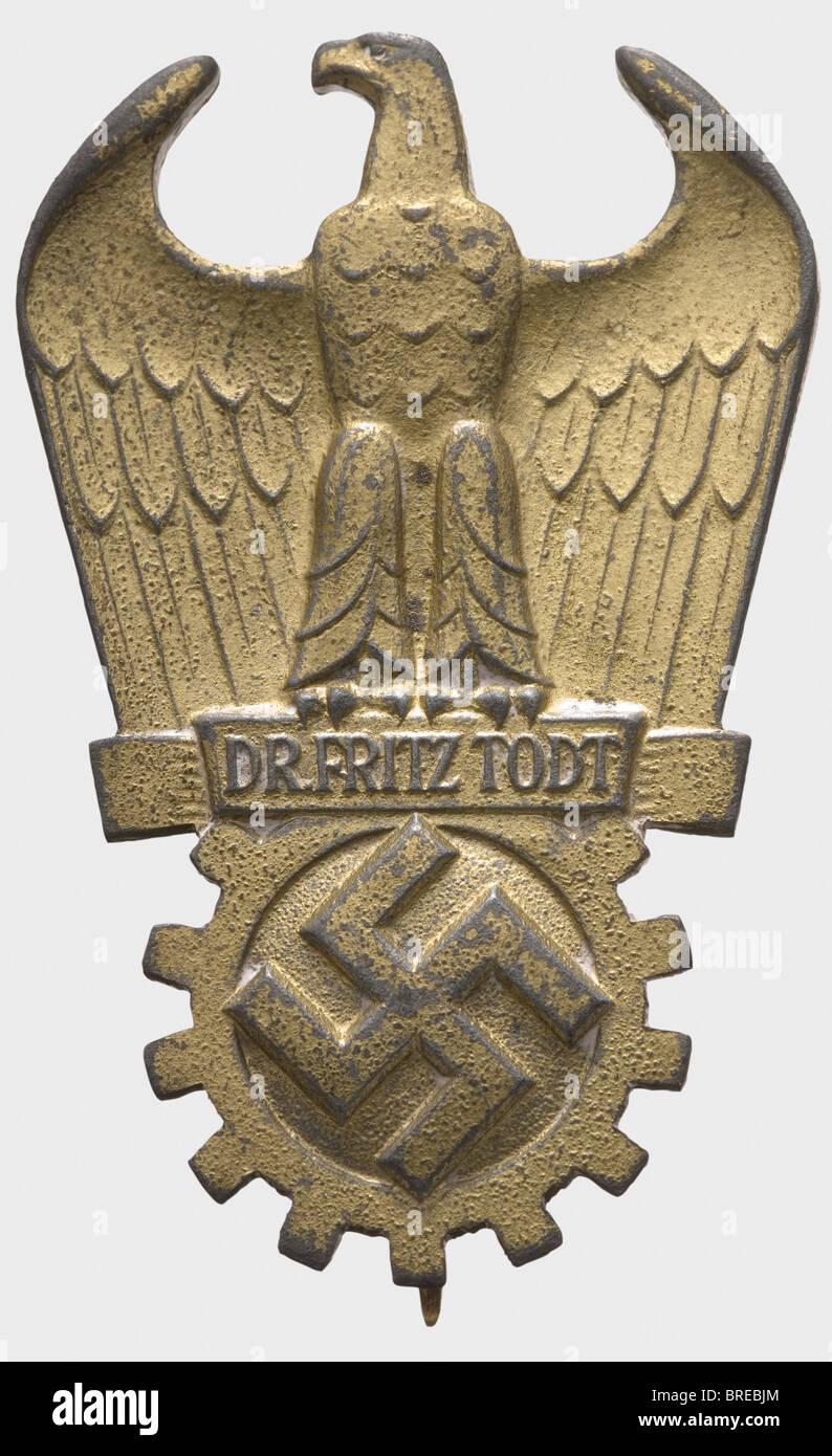 Il dottor Fritz Todt premio, in Oro dorato, zinco solido problema con apposto il perno di fissaggio sistema. Terza Immagini Stock