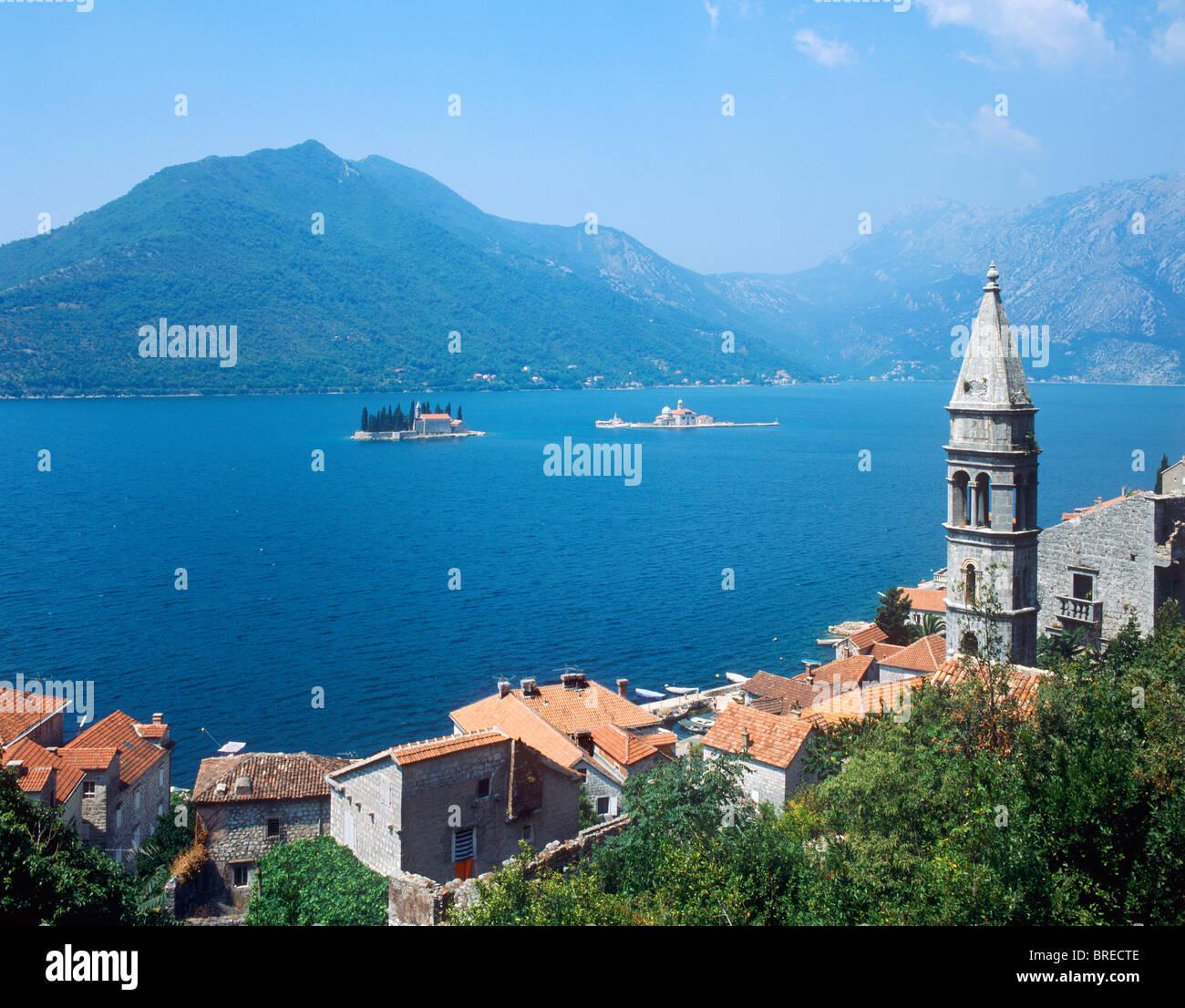 Perast e della Baia di Kotor, Montenegro Immagini Stock