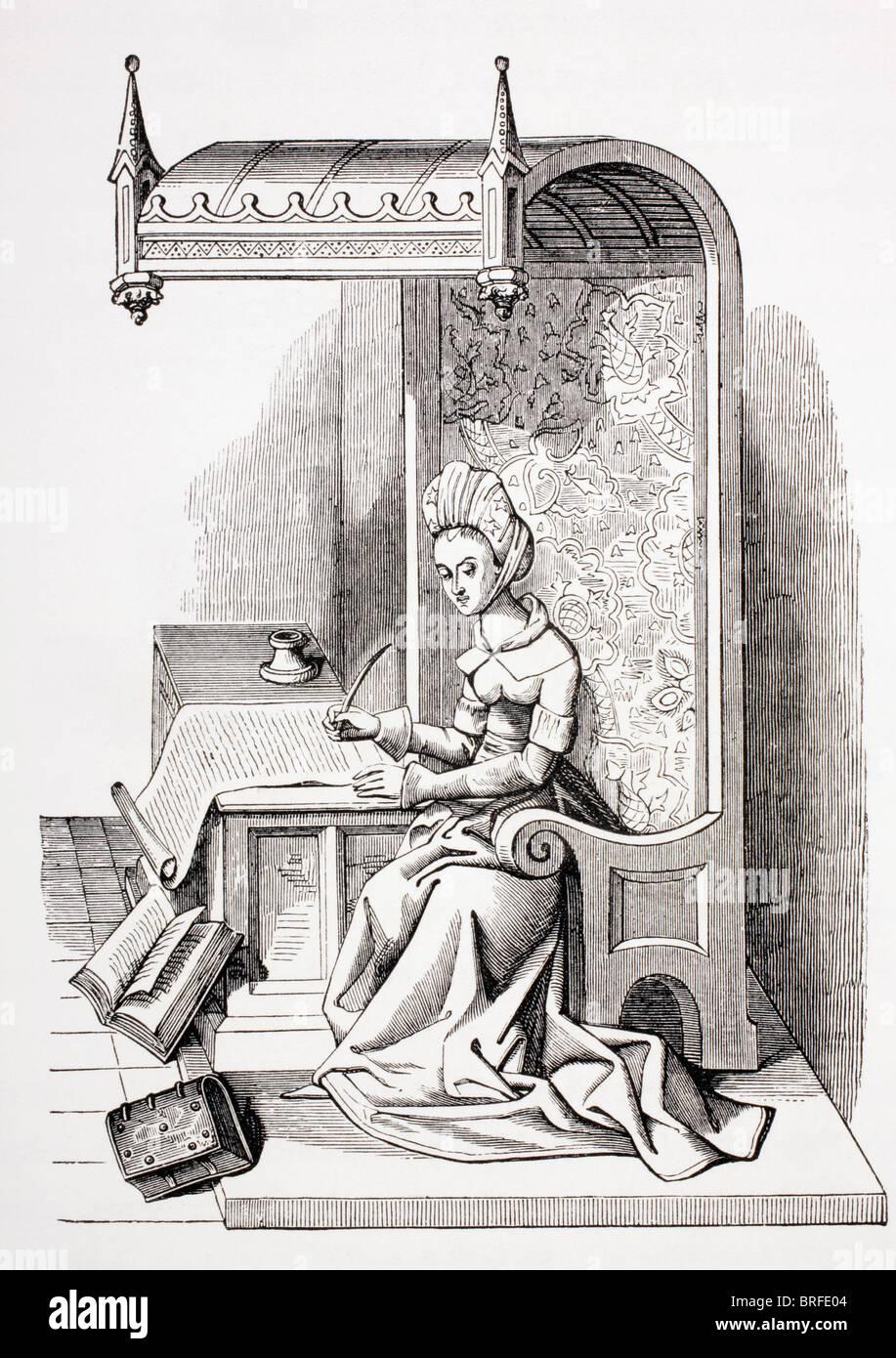 Christine de il pisano o Pizan, 1365 - c. 1434, veneto-nato poeta e femminista. Immagini Stock