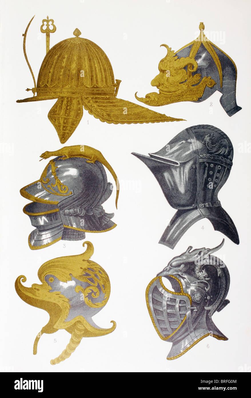 Caschi. 1. Post-Renaissance capeline casco. 2. Morion casco. 3, 4 e 6. Visored caschi. 5. Decorate il casco. Immagini Stock