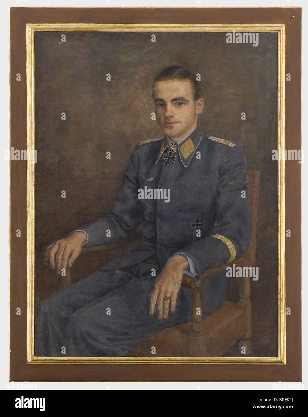 Oberstleutnant Hans-Karl Stepp - un ritratto dipinto, olio su tela. Il giovane tenente colonnello e comandante di Immagini Stock