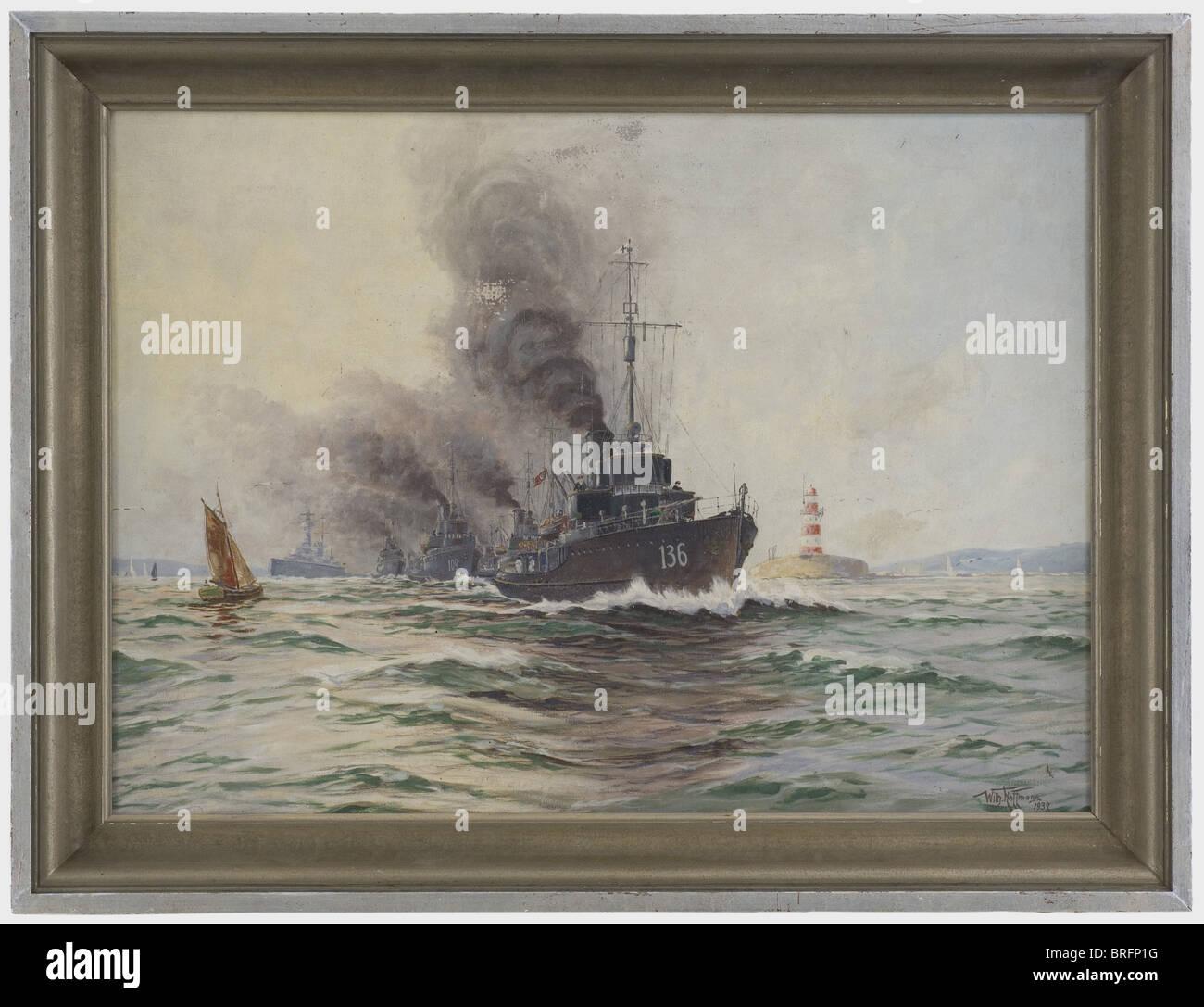 Wilhelm Hoffmann (1897 - 1986) - 'Departing torpediniera flottiglia'., olio su tela, la pittura di genere Immagini Stock