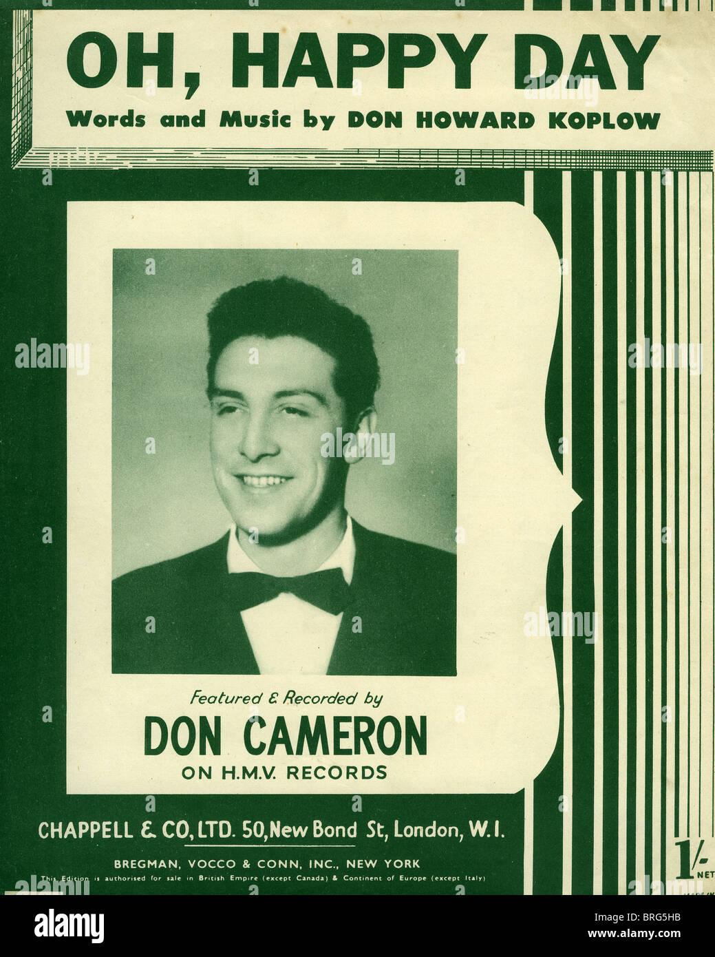 DON CAMERON cantante britannico sul foglio di musica del grande 1952 hit Oh Happy Day da noi il cantautore don Koplow Foto Stock
