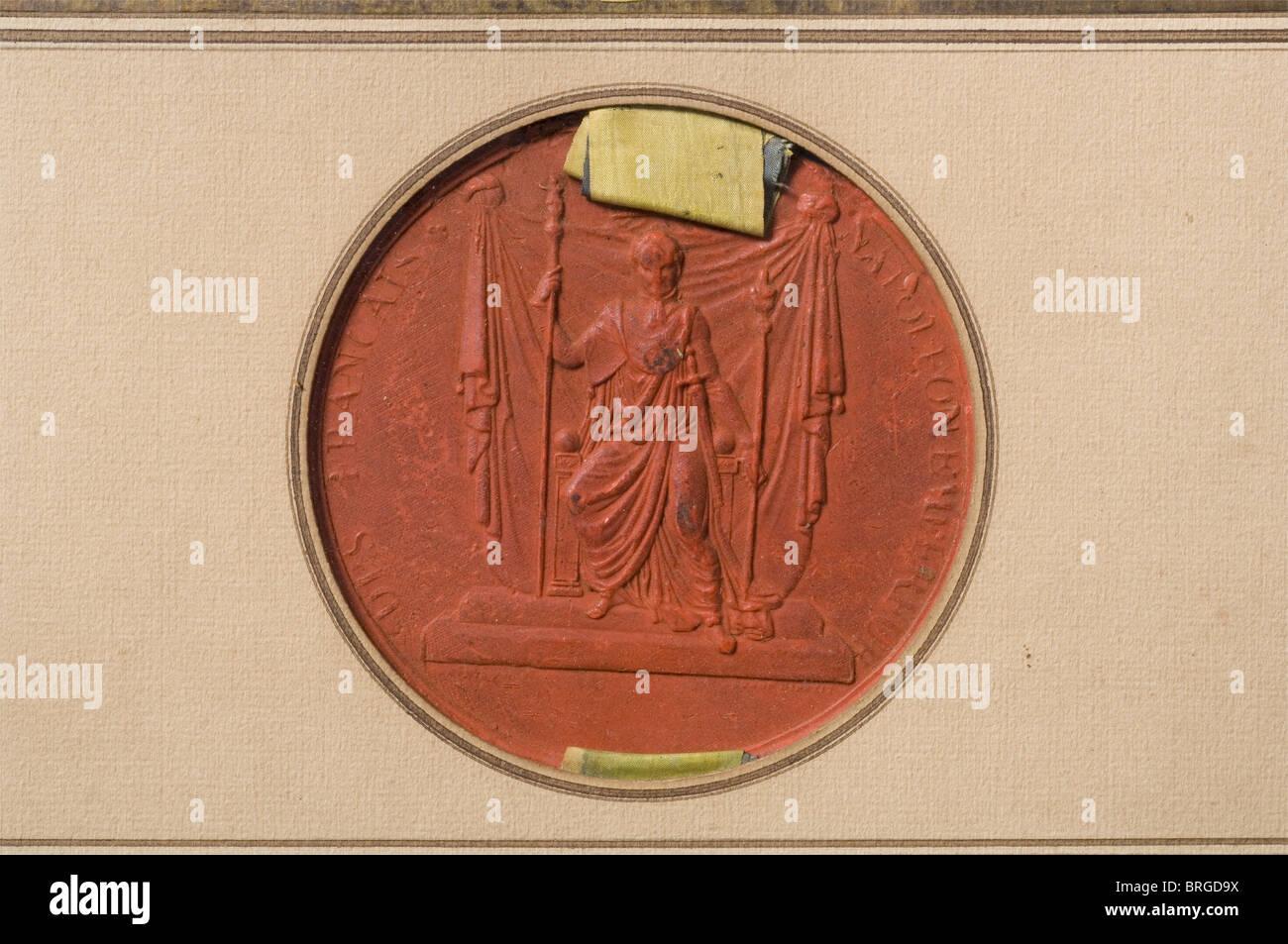 L'imperatore Napoleone I, il grande brevetto della nobiltà per Fran Ois‡Anguissola de Grassano la concessione Immagini Stock