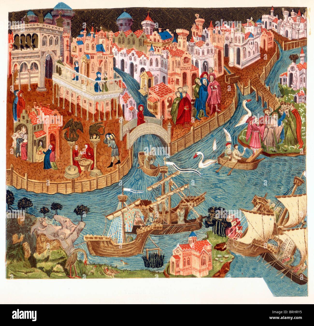 Illustrazione a colori; Venezia nell'anno 1338; da un manoscritto medievale nella biblioteca Bodleian Library Immagini Stock