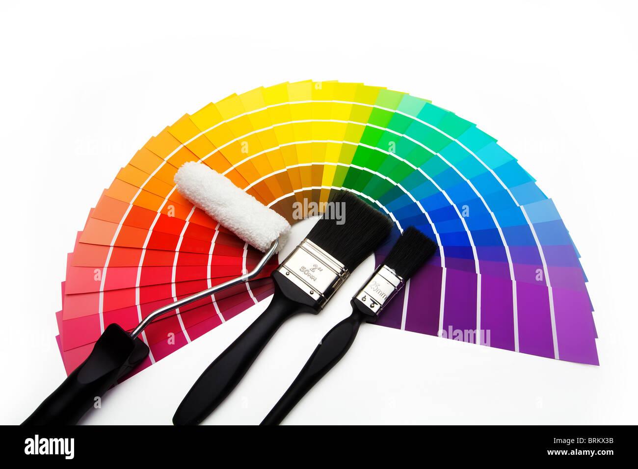 I campioni di colore, pennelli e rullo Immagini Stock