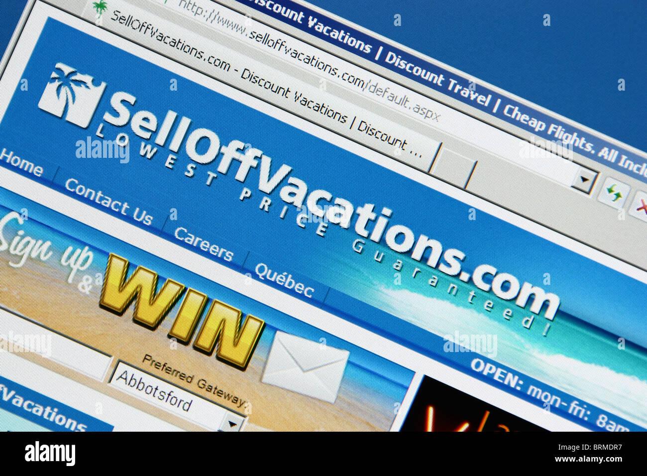 Online prenotazione di viaggi selloffvacation Immagini Stock