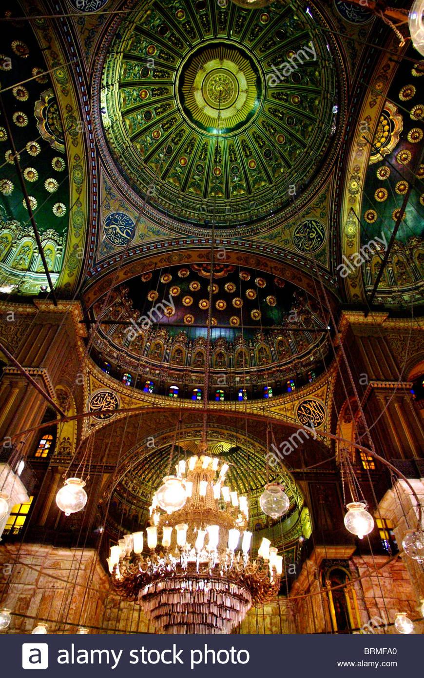 Interno del Muhammad Ali moschea in Cairo. Immagini Stock