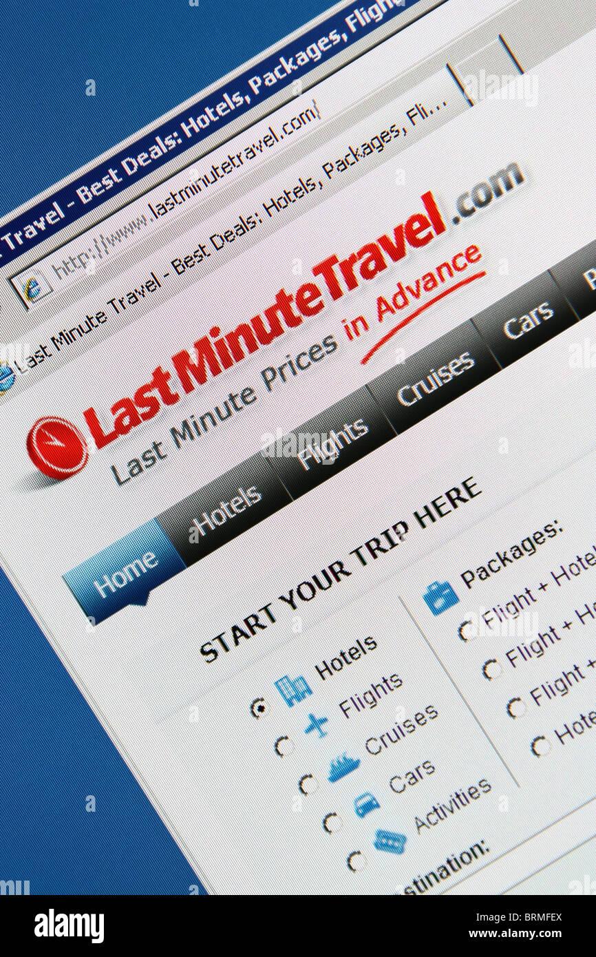 Online prenotazione di viaggi lastminutetravel Immagini Stock