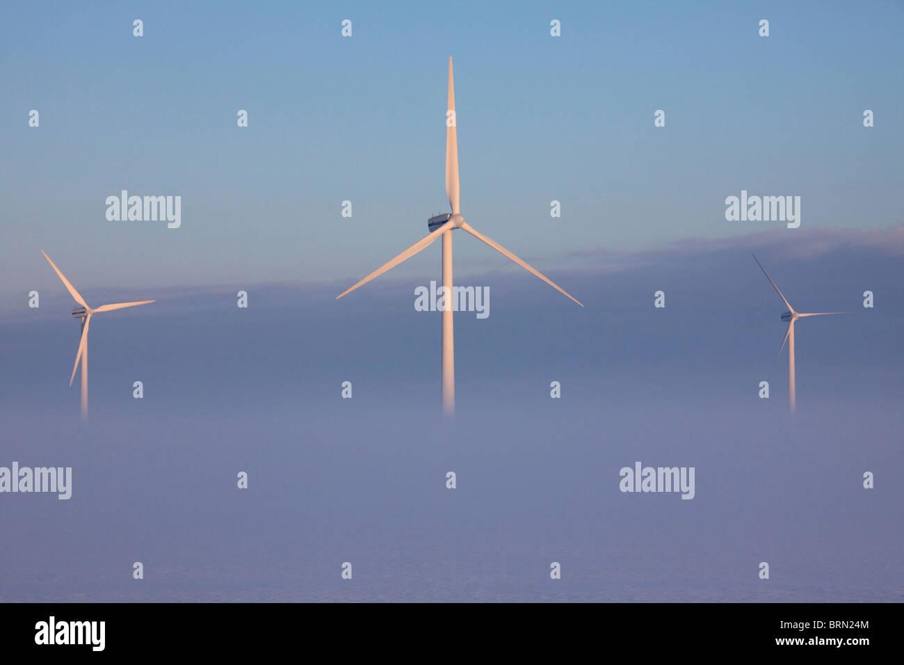 La nebbia attorno a turbine eoliche, Frisia settentrionale, Schleswig-Holstein, Germania. Immagini Stock