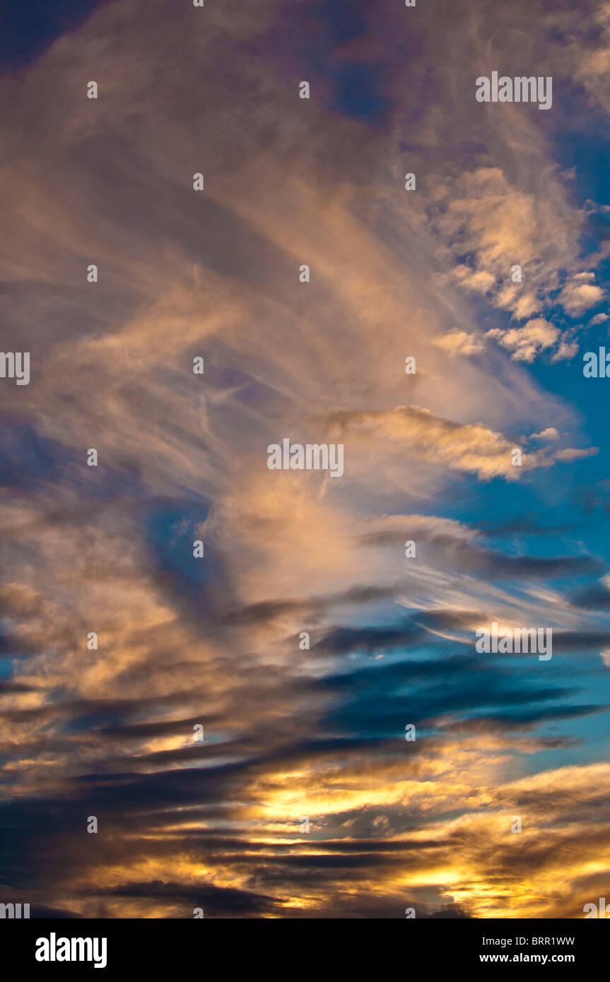 Cirrus nuvole al tramonto Immagini Stock